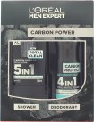 L'Oreal Men Expert Paris Men Expert The Carbon Power Gift Set 300ml 5in1 Shower Gel + 150ml Anti-Perspirant Spray<br />Mænd