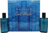Davidoff Cool Water Gift Set 75ml EDT Spray + 75ml Aftershave<br />Mænd