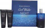 Davidoff Cool Water Night Dive Gift Set 125ml EDT + 75ml Shower Gel  + 75ml Aftershave Balm<br />Mænd
