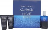 Davidoff Cool Water Night Dive Gift Set 75ml EDT + 50ml Shower Gel + 50ml Aftershave Balm<br />Mænd